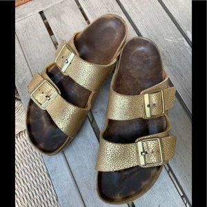 Birkenstock Arizona Leather Metallic Gold - 39
